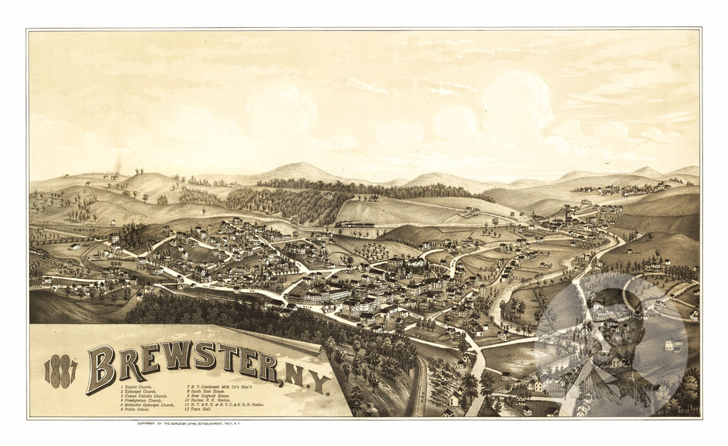 Brewster, NY Historical Map - 1887 - Ted's Vintage Maps
