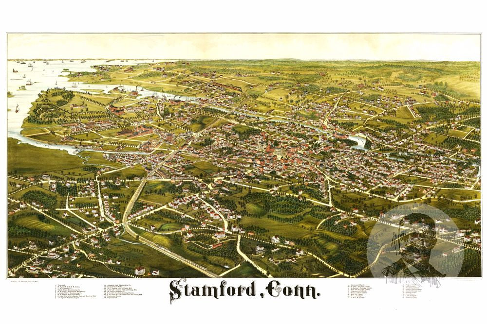 Stamford, CT Historical Map - 1883