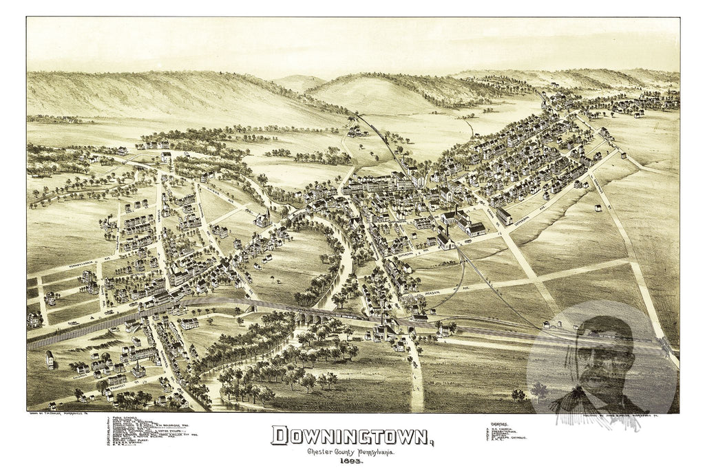 Downingtown, PA Historical Map - 1893 - Ted's Vintage Maps