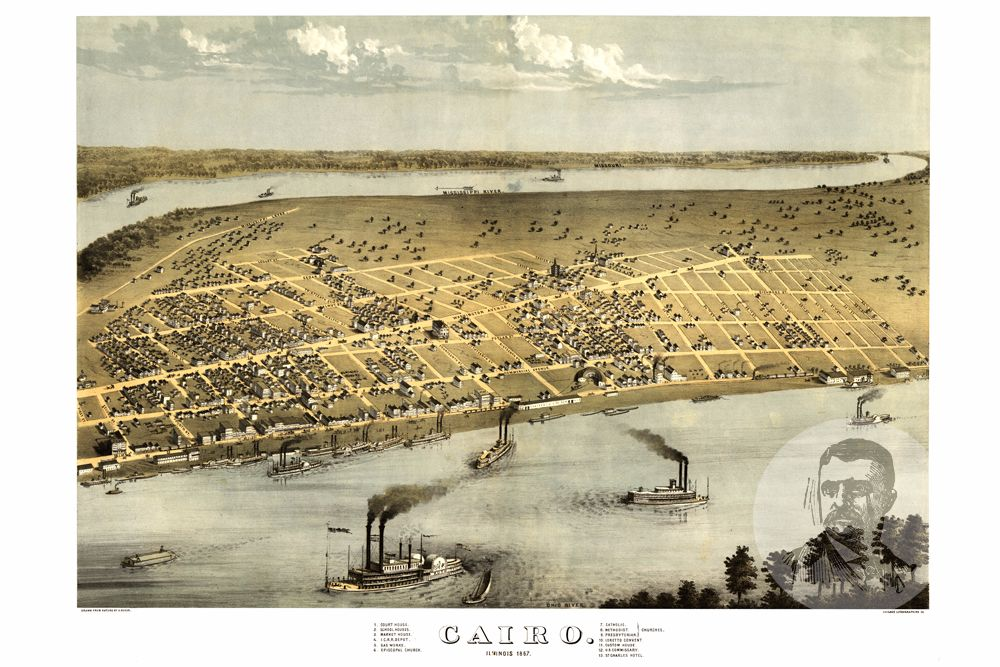 Cairo, IL Historical Map - 1867 - Ted's Vintage Maps