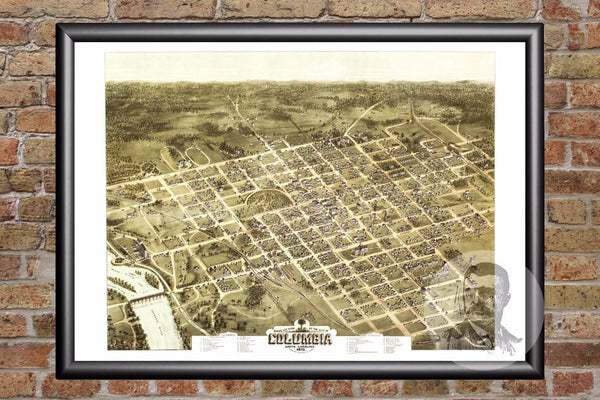 Columbia, SC Historical Map - 1872