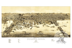 Duluth, MN Historical Map - 1887