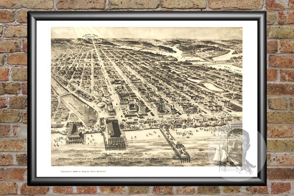 Asbury Park, NJ Historical Map - 1910 - Ted's Vintage Maps
