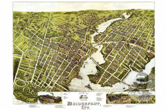 Bridgeport, CT Historical Map - 1875