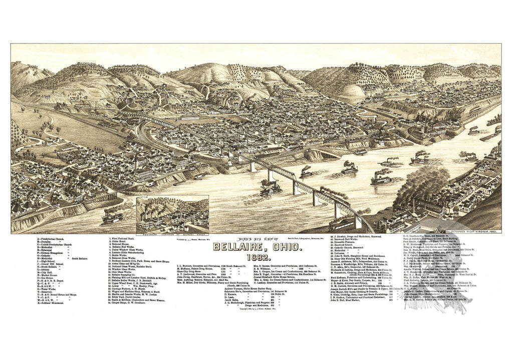 Bellaire, OH Historical Map - 1882 - Ted's Vintage Maps