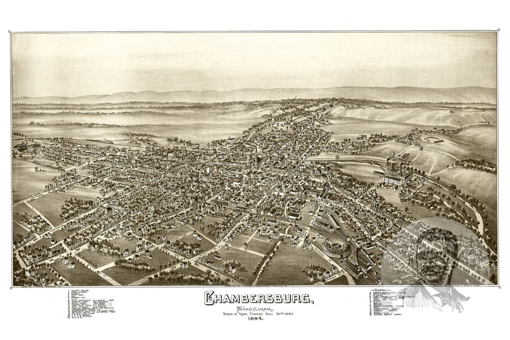 Chambersburg, PA Historical Map - 1885 - Ted's Vintage Maps