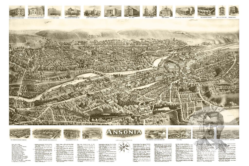 Ansonia, CT Historical Map - 1921 - Ted's Vintage Maps