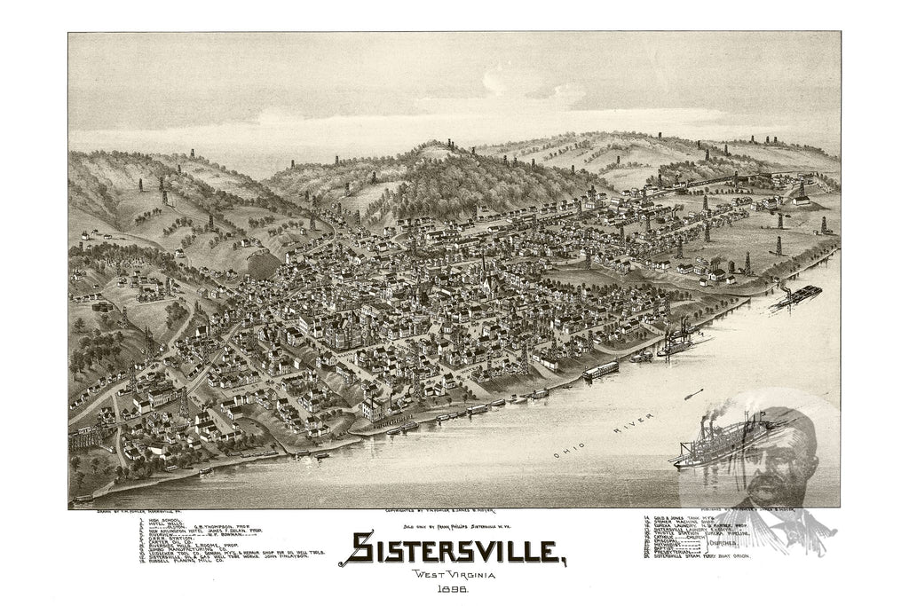 Sistersville, WV Historical Map - 1896