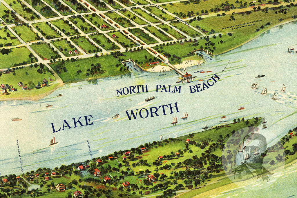 Map Of Lake Worth Florida.Palm Beach Lake Worth Fl Historical Map 1915 Ted S Vintage Art