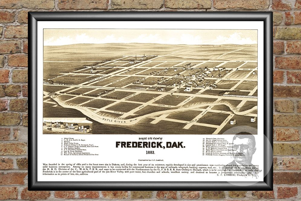 Frederick, SD Historical Map - 1883 - Ted's Vintage Maps