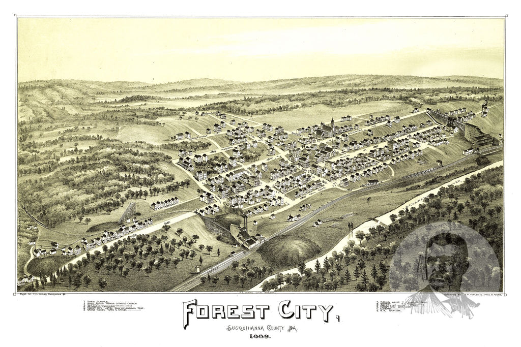 Forest City, PA Historical Map - 1889 - Ted's Vintage Maps