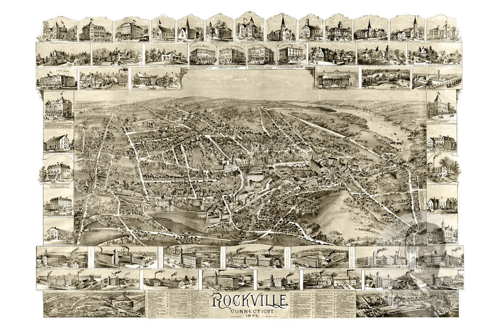 Rockville, CT Historical Map - 1895