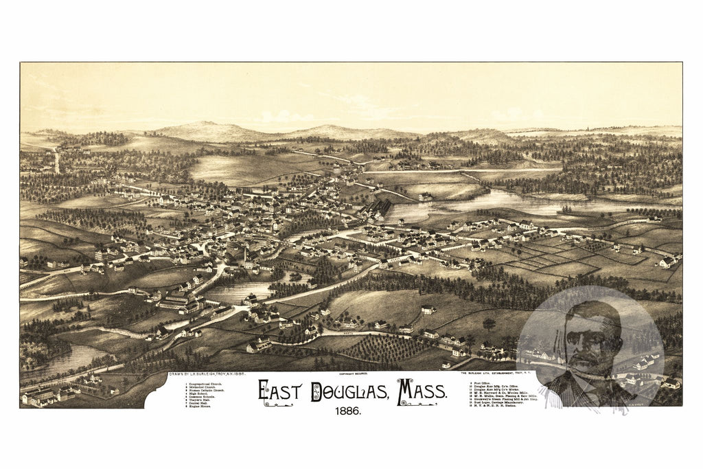 East Douglas, MA Historical Map - 1886 - Ted's Vintage Maps
