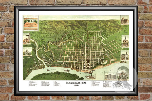 Paducah, KY Historical Map - 1889
