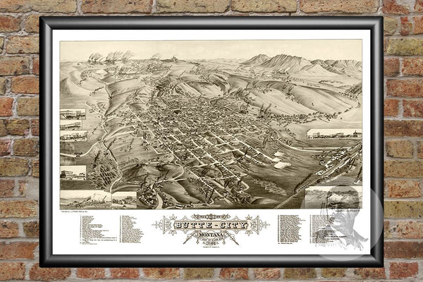Butte City, MT Historical Map - 1884