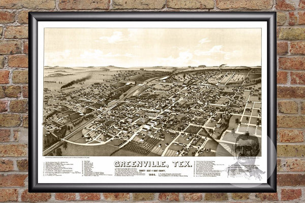 Greenville, TX Historical Map - 1886