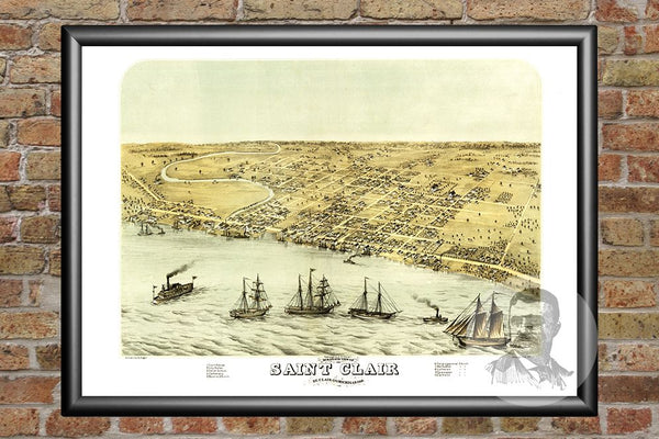 Saint Clair, MI Historical Map - 1868