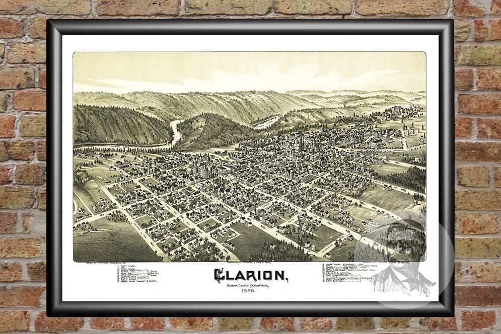 Clarion, PA Historical Map - 1896