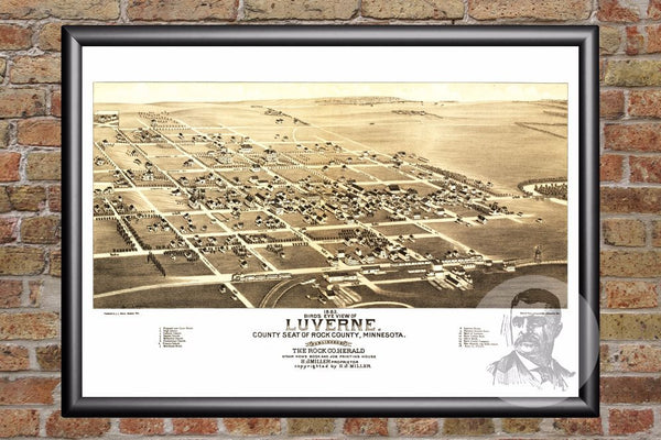 Vintage Map of Luverne, MN from 1883