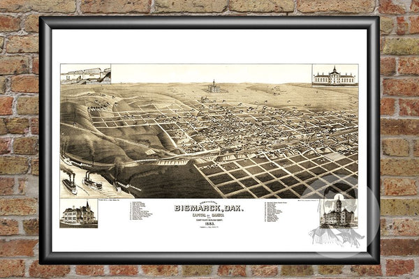 Bismarck, ND Historical Map - 1883