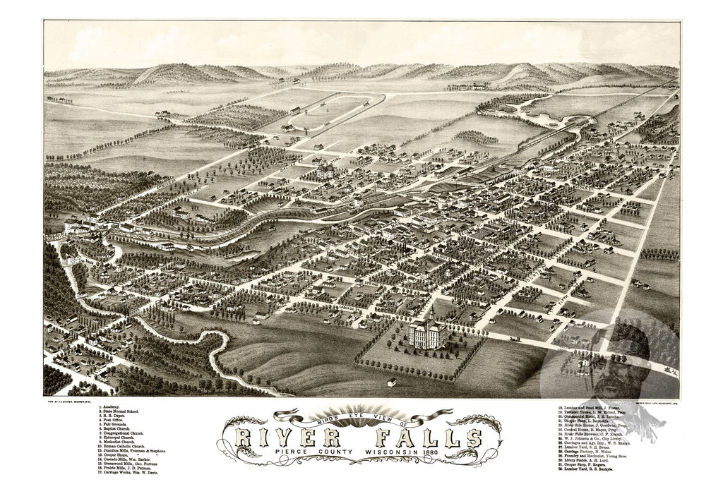 River Falls, WI Historical Map - 1880