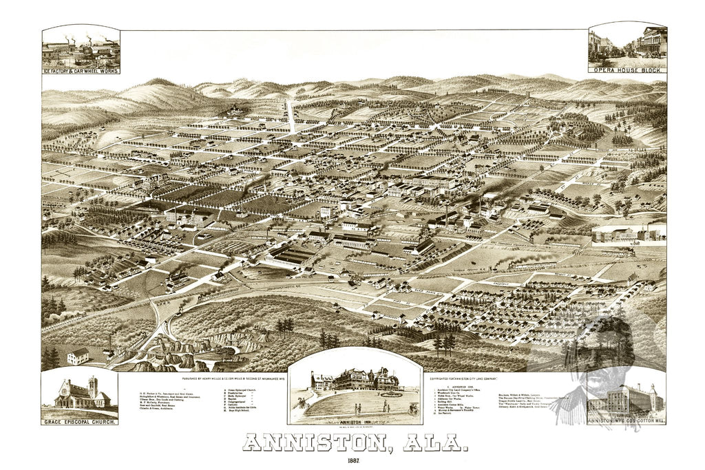 Anniston, AL Historical Map - 1887 - Ted's Vintage Maps