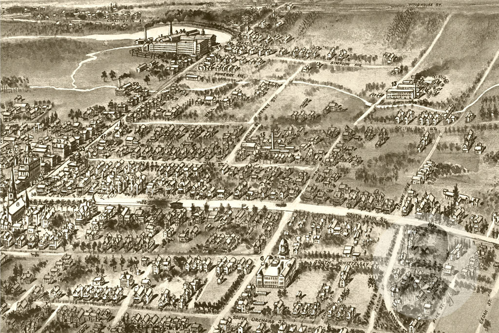 Wallingford, CT Historical Map - 1905