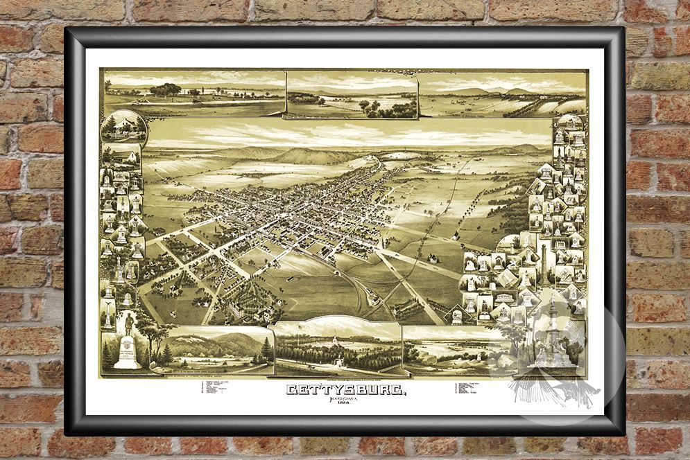 Gettysburg, PA Historical Map - 1888 - Ted's Vintage Maps