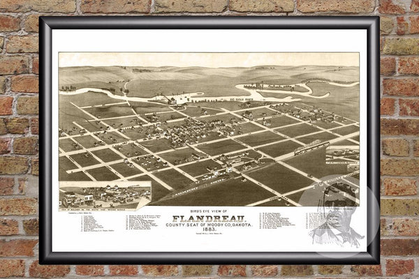 Flandreau, SD Historical Map - 1883