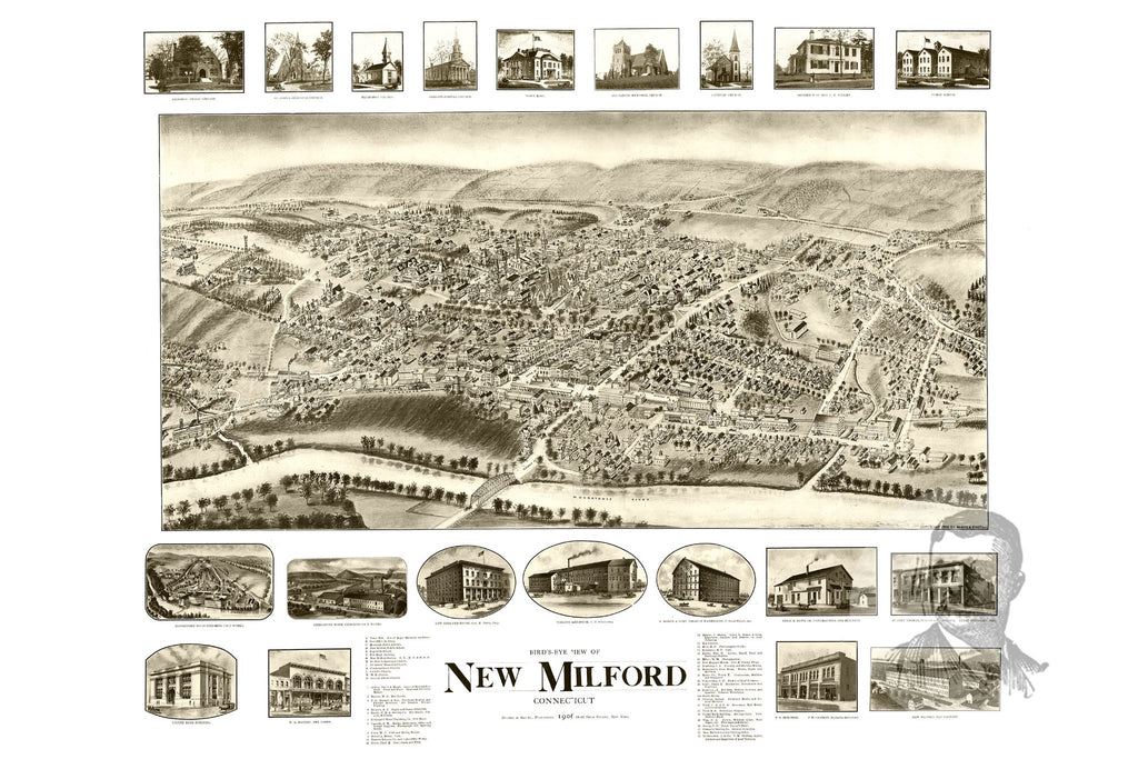 New Milford, CT Historical Map - 1906