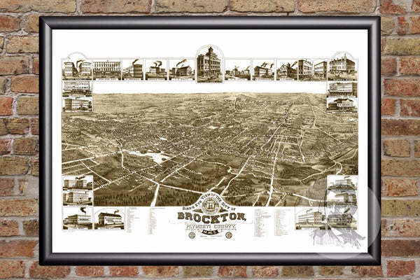 Brockton, MA Historical Map - 1882