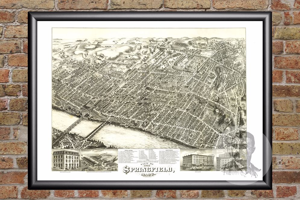 Springfield, MA Historical Map - 1875