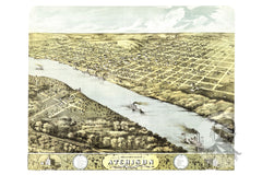 Atchison, KS Historical Map - 1869