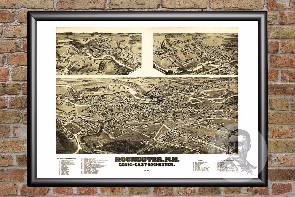 Rochester, NH Historical Map - 1884