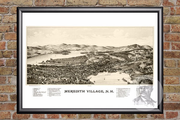 Meredith Village, NH Historical Map - 1889