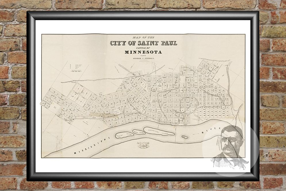 St. Paul, MN Historical Map - 1860