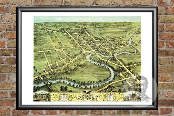 Warren, OH Historical Map - 1870
