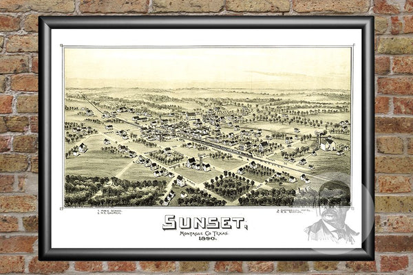 Sunset, TX Historical Map - 1890