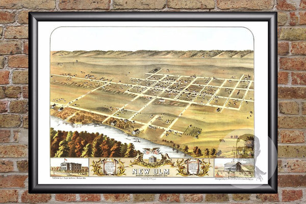 Vintage Map of New Ulm, MN from 1870