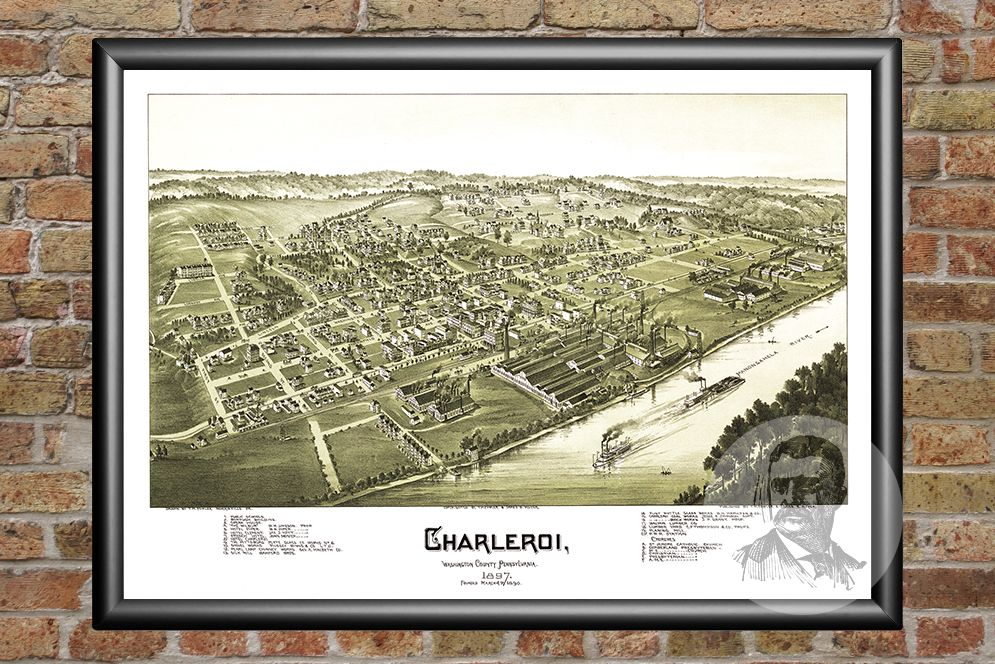 Charleroi PA Historical Map 1897 Teds Vintage Art