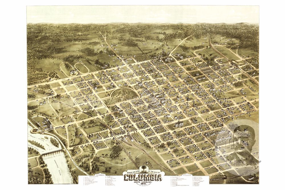 Columbia SC Historical Map Teds Vintage Art - Columbia sc map