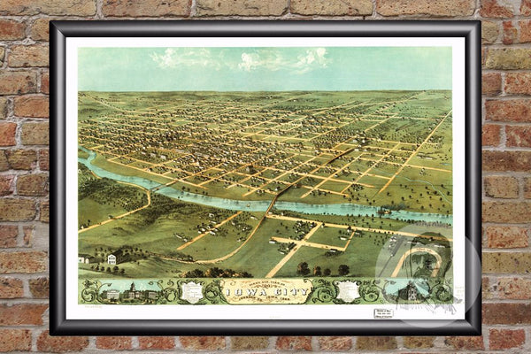 Iowa City, IA Historical Map - 1868