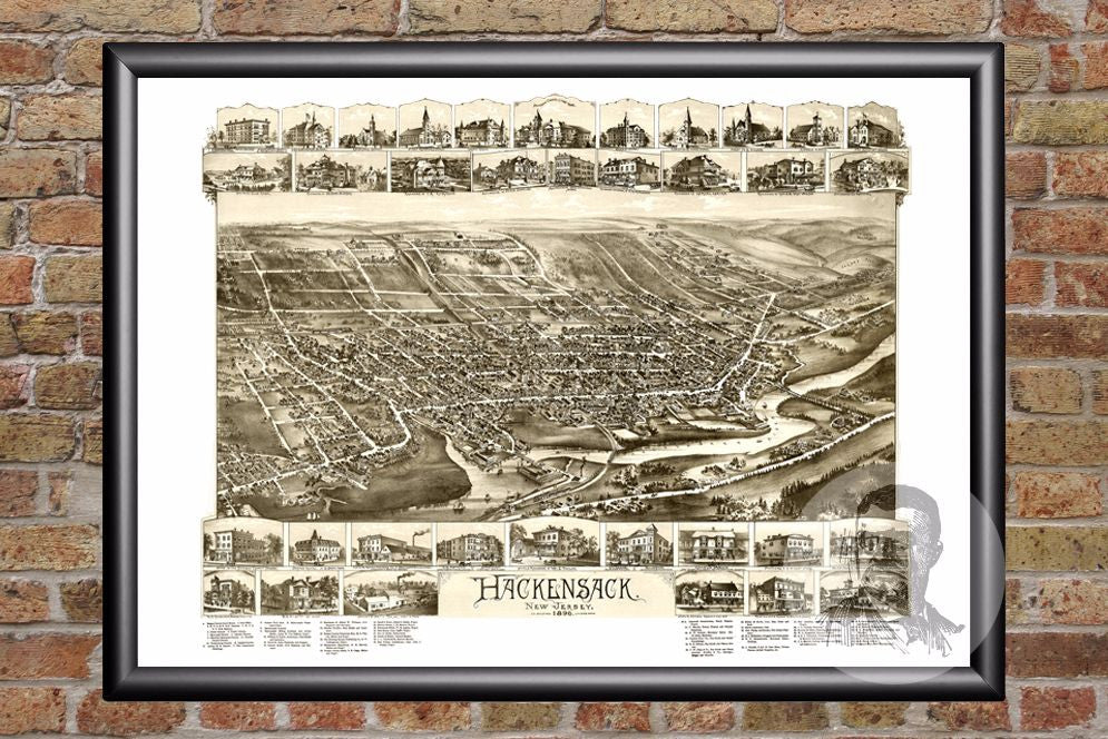 Hackensack, NJ Historical Map - 1896 - Ted's Vintage Maps
