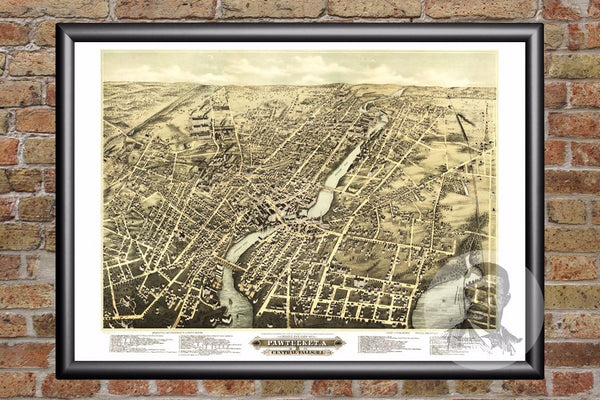 Pawtucket, RI Historical Map - 1877