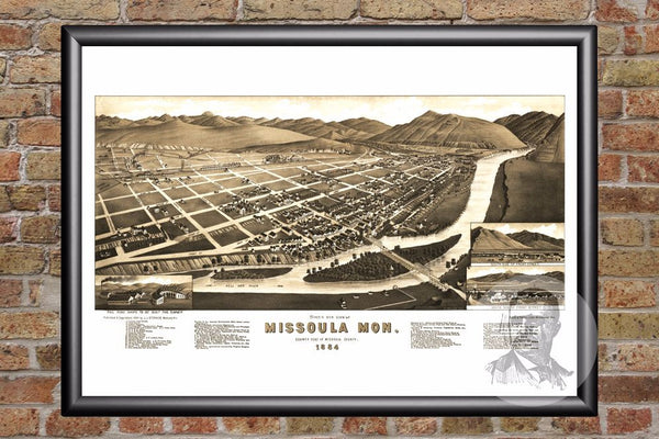Missoula, MT Historical Map - 1884