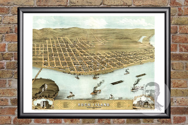 Rock Island, IL Historical Map - 1869