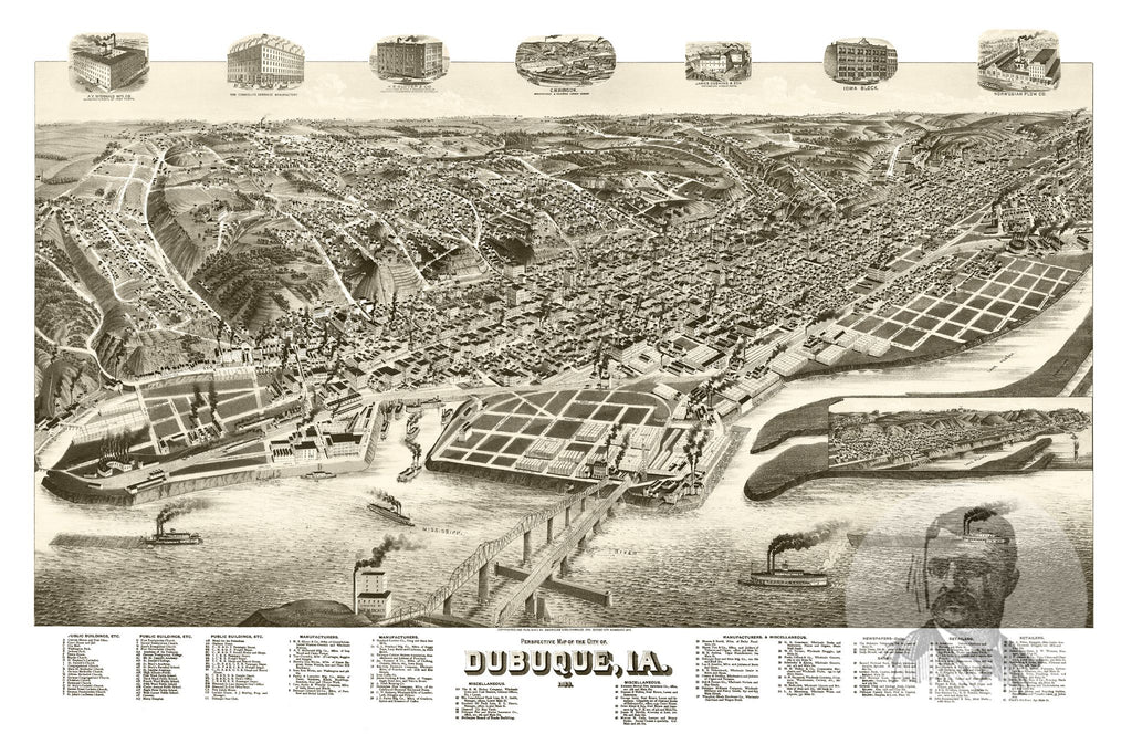 Dubuque, IA Historical Map - 1889 - Ted's Vintage Maps