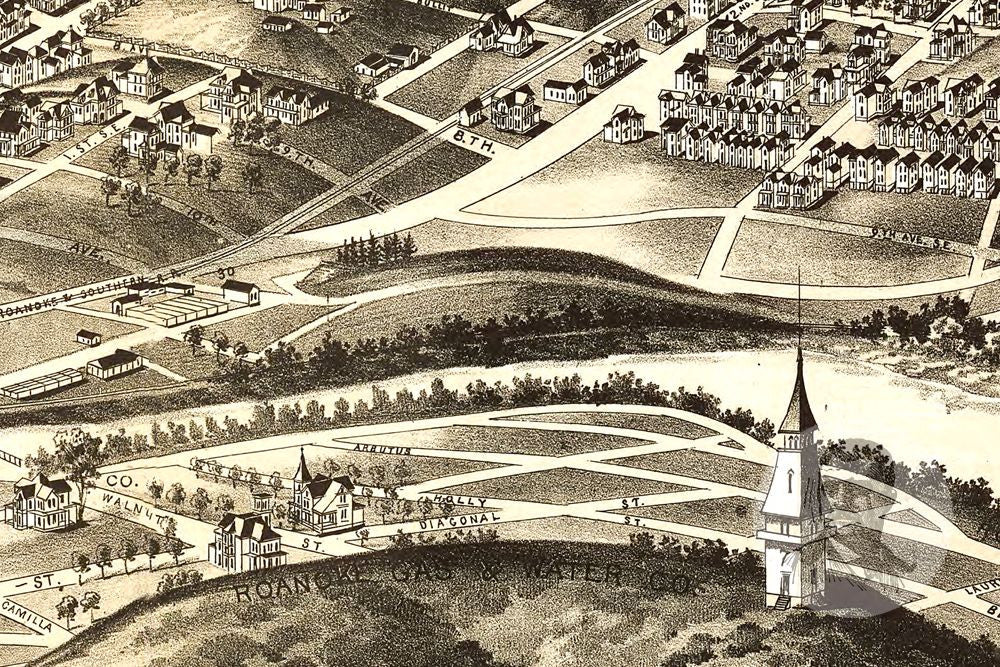 Roanoke, VA Historical Map - 1891