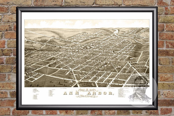 Ann Arbor, MI Historical Map - 1880