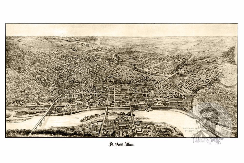St. Paul, MN Historical Map - 1906